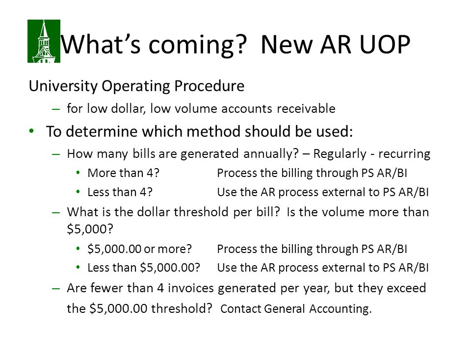 What's coming New AR UOP