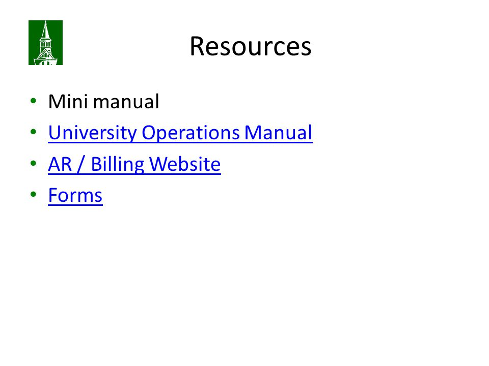 Resources Mini manual University Operations Manual