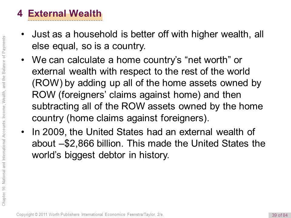 4 External Wealth Just as a household is better off with higher wealth, all else equal, so is a country.