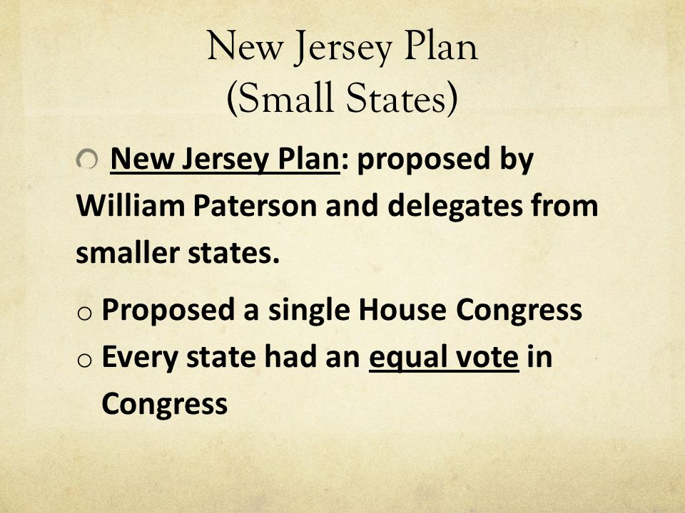 New Jersey Plan (Small States)