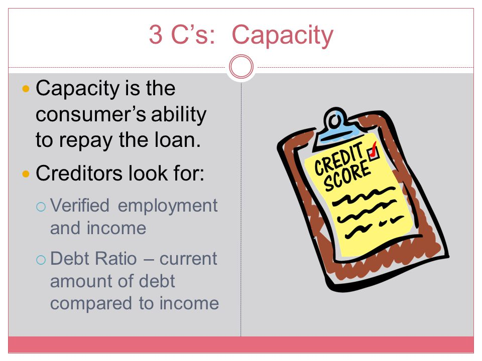 3 C's: Capacity Capacity is the consumer's ability to repay the loan.