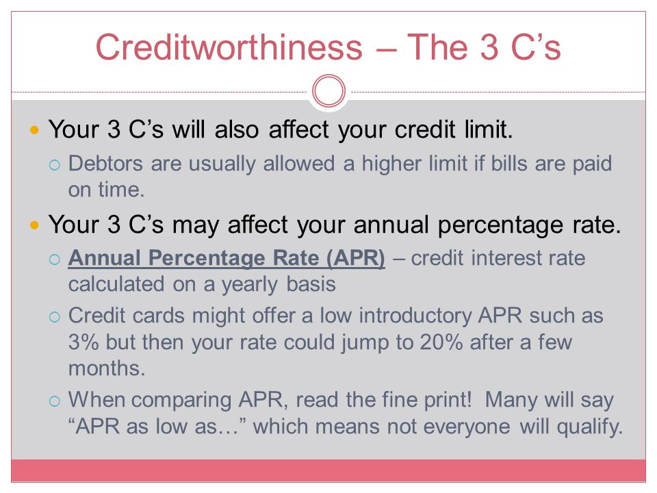 Creditworthiness – The 3 C's