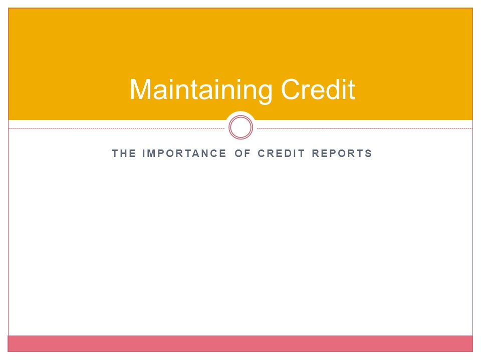 The Importance of Credit Reports