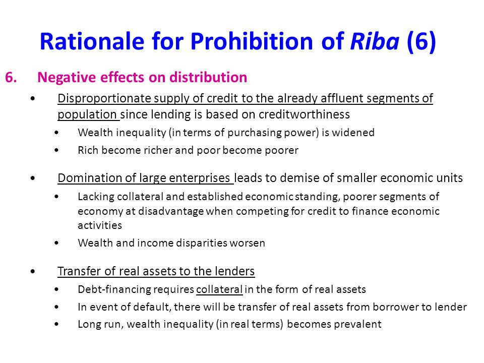Rationale for Prohibition of Riba (6)