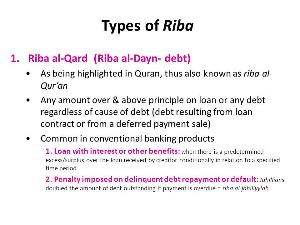 Types of Riba Riba al-Qard (Riba al-Dayn- debt)