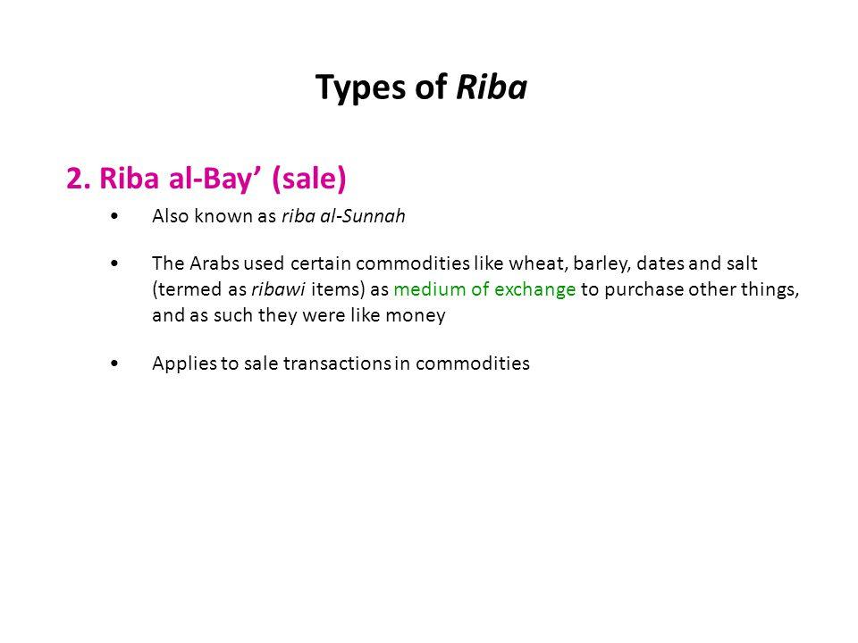 Types of Riba 2. Riba al-Bay' (sale) Also known as riba al-Sunnah
