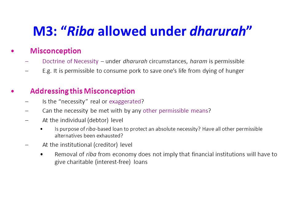 M3: Riba allowed under dharurah