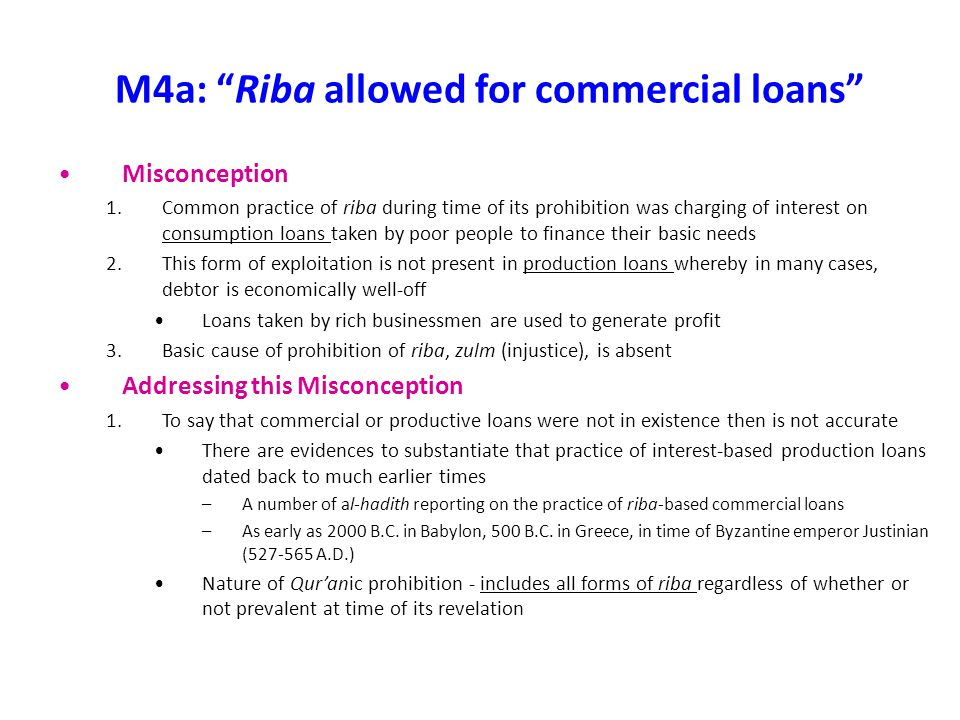 M4a: Riba allowed for commercial loans