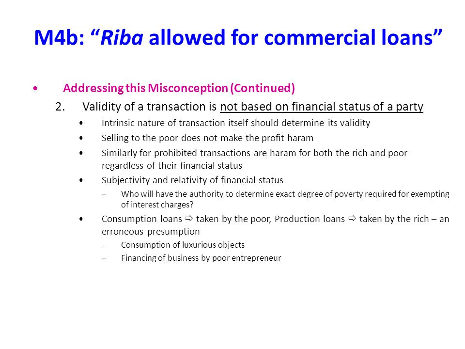 M4b: Riba allowed for commercial loans