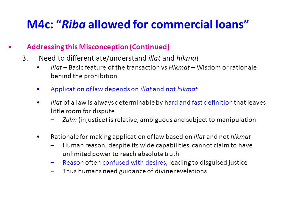 M4c: Riba allowed for commercial loans
