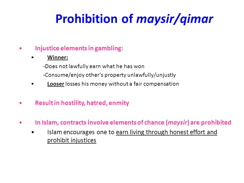 Prohibition of maysir/qimar