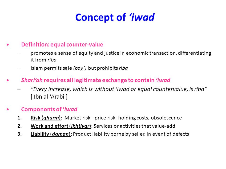 Concept of 'iwad Definition: equal counter-value