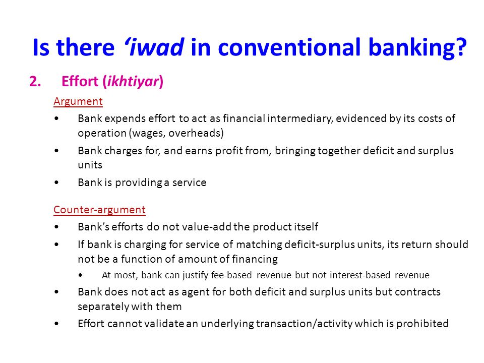 Is there 'iwad in conventional banking