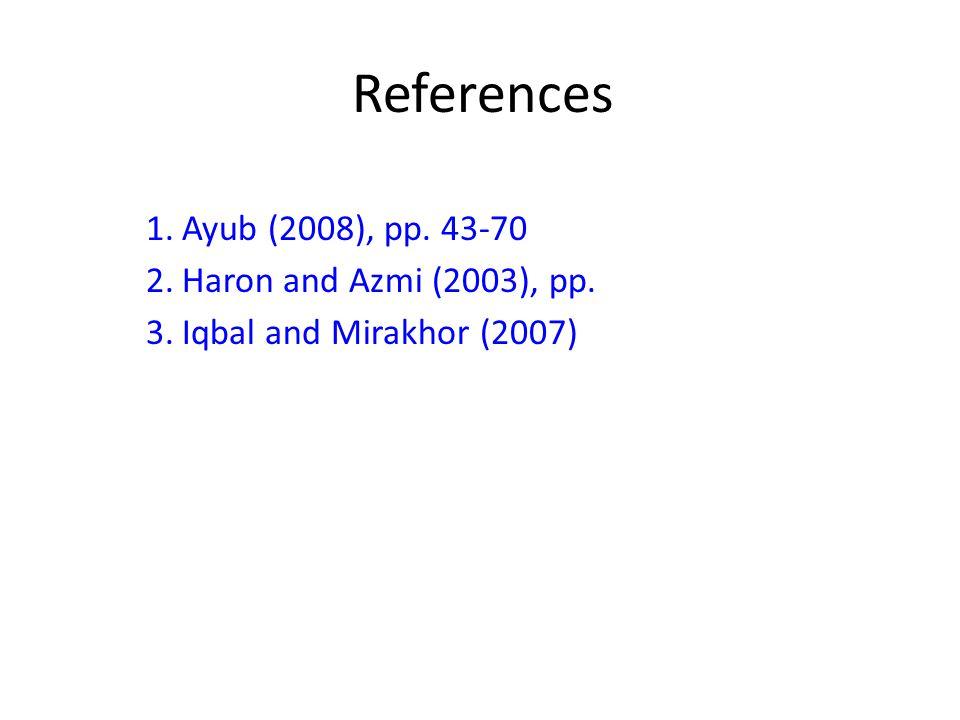 References Ayub (2008), pp. 43-70 Haron and Azmi (2003), pp.