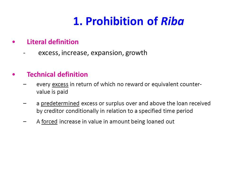 1. Prohibition of Riba Literal definition