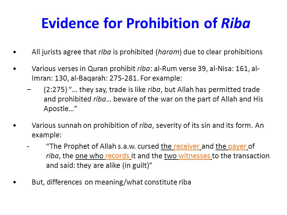 Evidence for Prohibition of Riba
