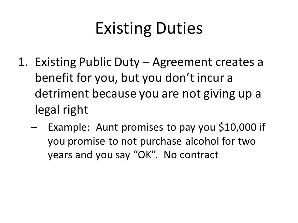 Existing Duties