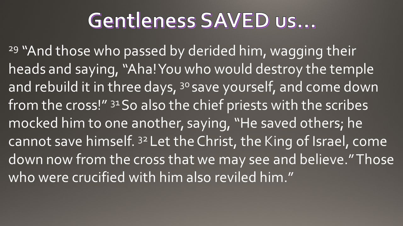 Gentleness SAVED us…