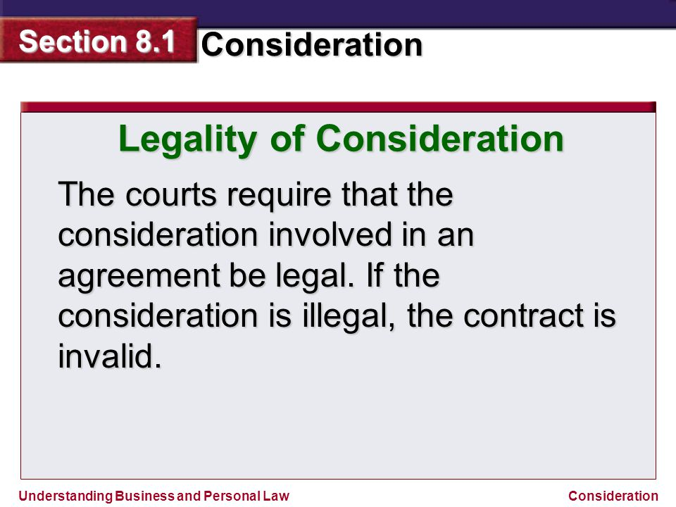 Legality of Consideration