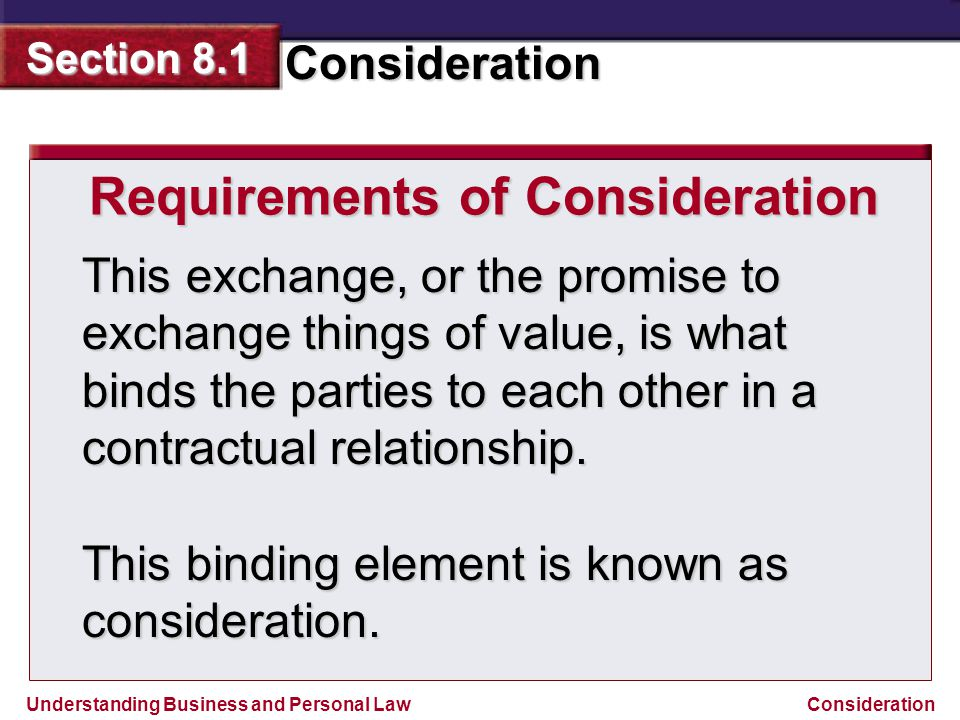 Requirements of Consideration