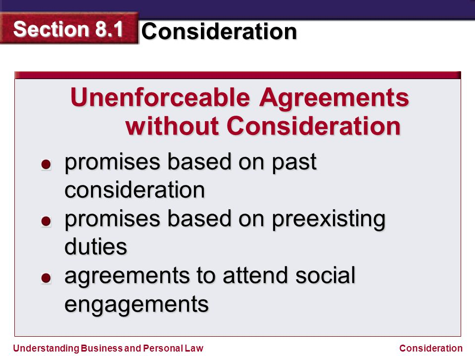 Unenforceable Agreements without Consideration