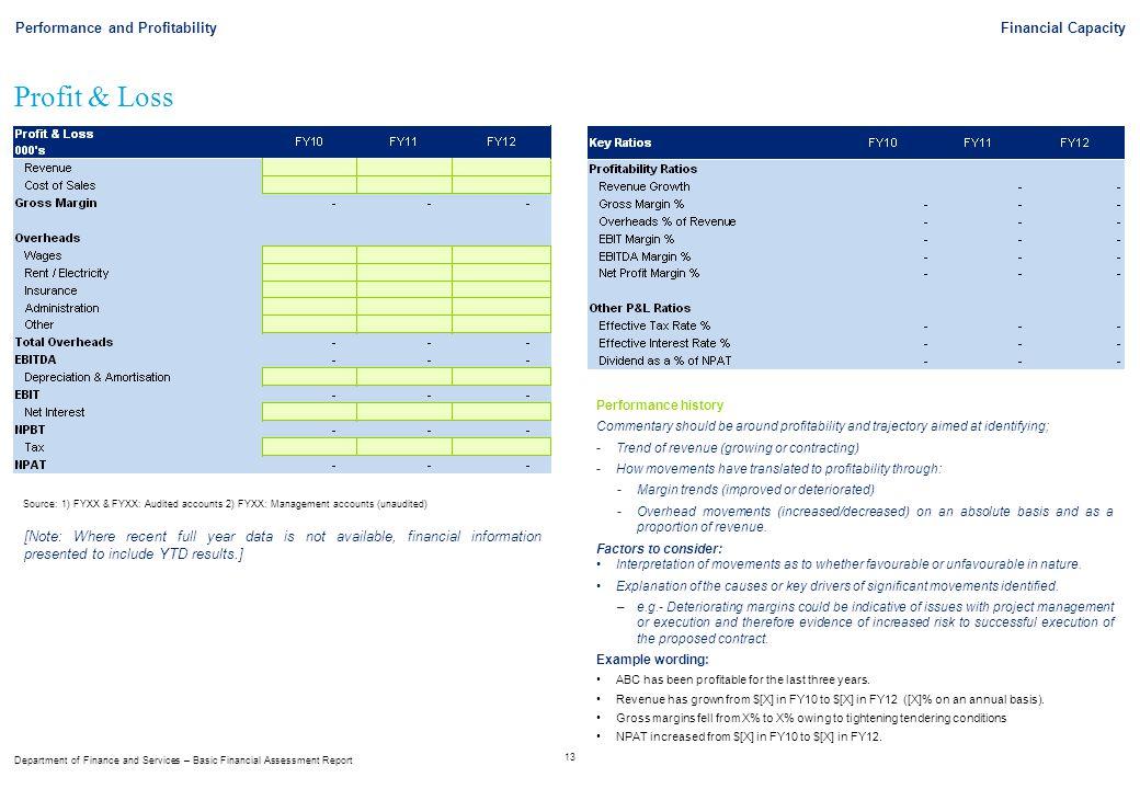 Profit & Loss Performance and Profitability Financial Capacity