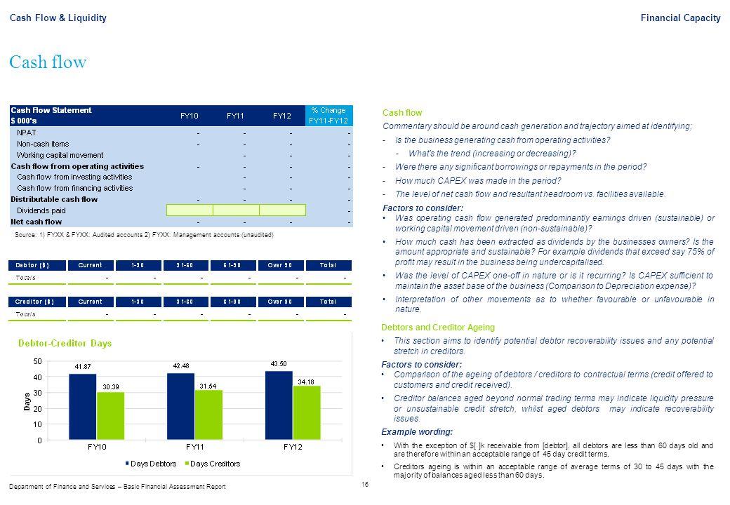 Cash flow Cash Flow & Liquidity Financial Capacity Cash flow
