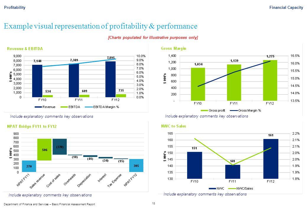 Example visual representation of profitability & performance