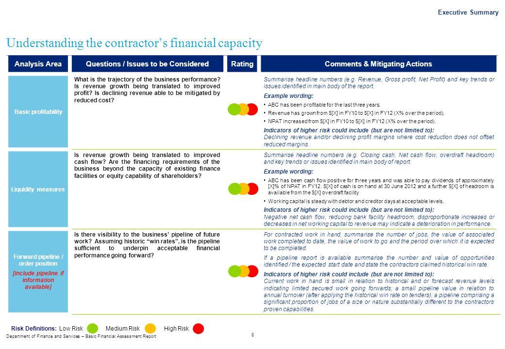 Understanding the contractor's financial capacity