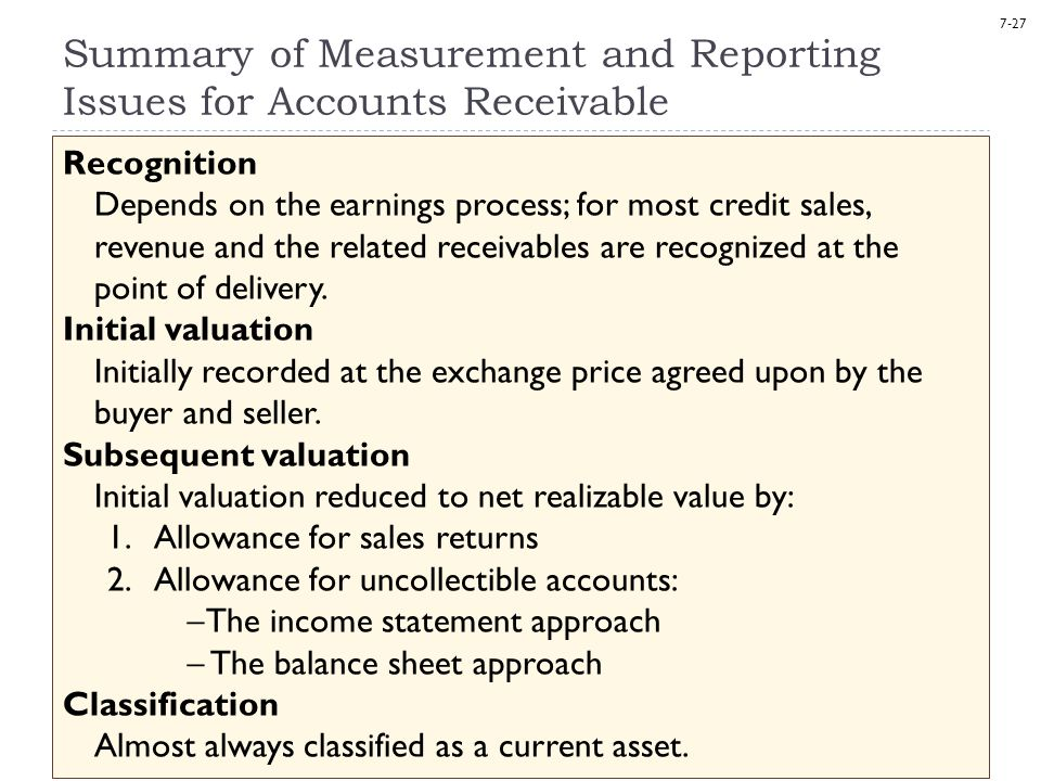 Summary of Measurement and Reporting Issues for Accounts Receivable