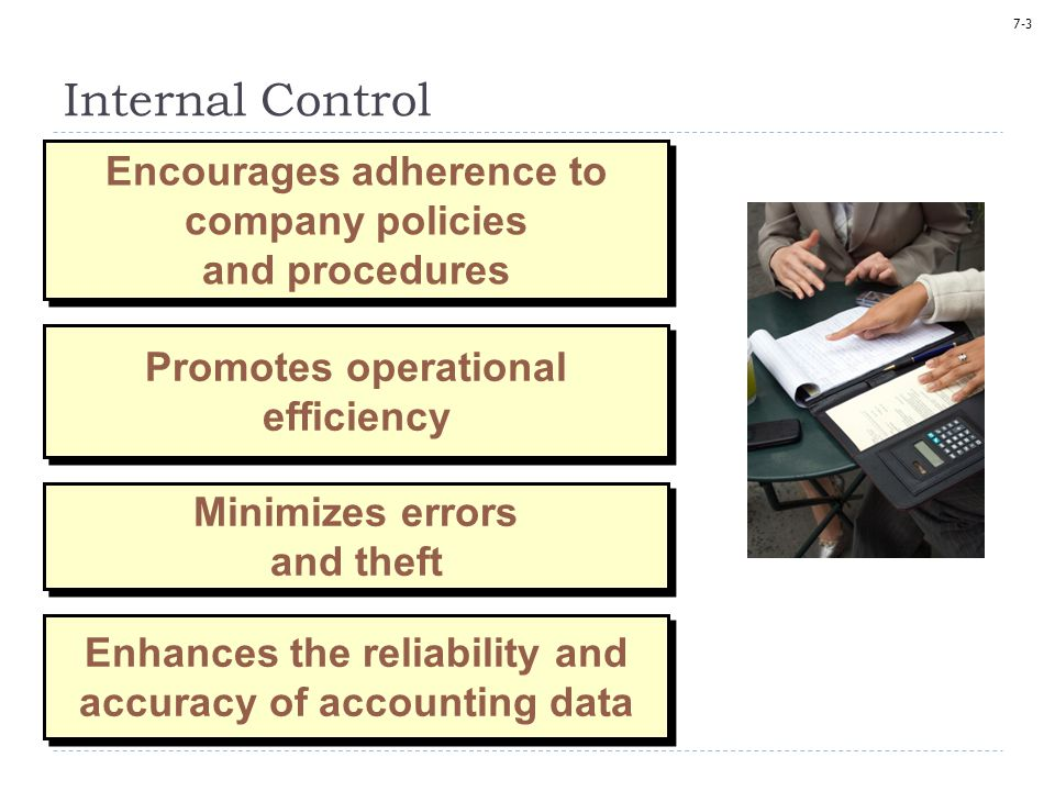Internal Control Encourages adherence to company policies and procedures. Promotes operational efficiency.