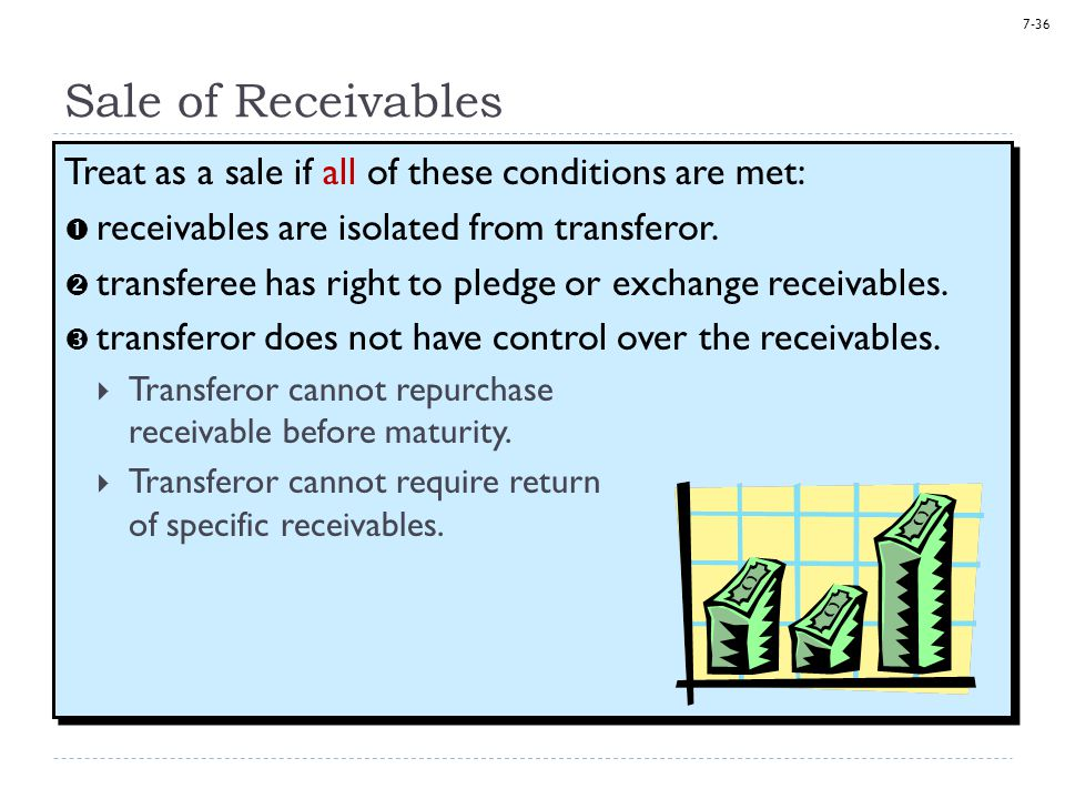 Sale of Receivables Treat as a sale if all of these conditions are met: receivables are isolated from transferor.