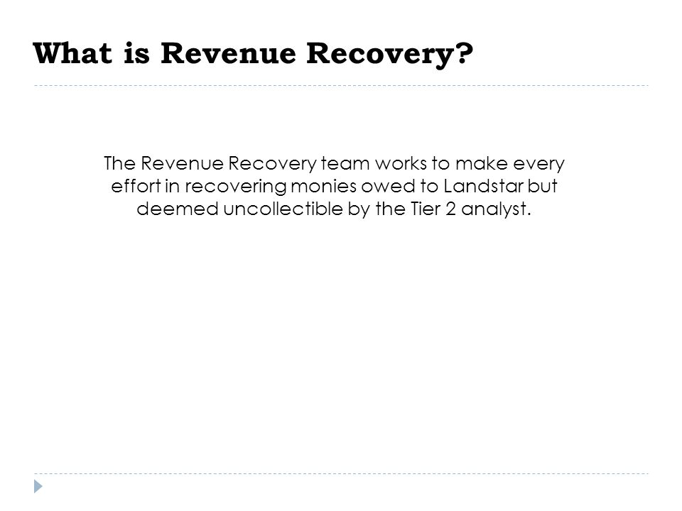 What is Revenue Recovery