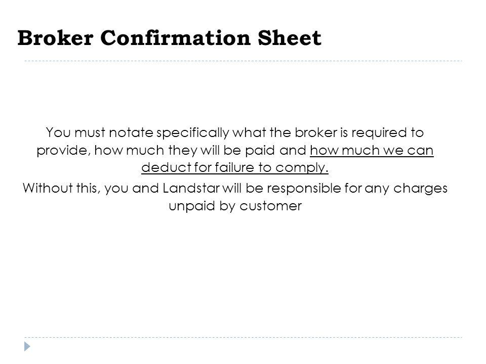 Broker Confirmation Sheet