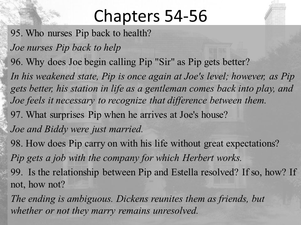 Chapters 54-56 95. Who nurses Pip back to health