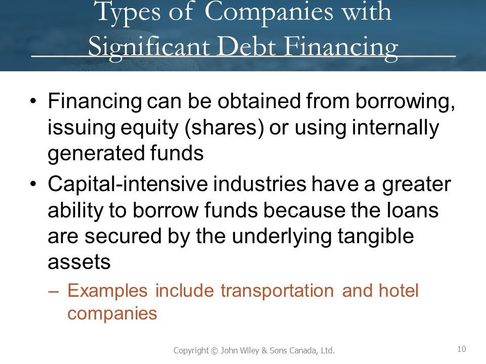 Types of Companies with Significant Debt Financing