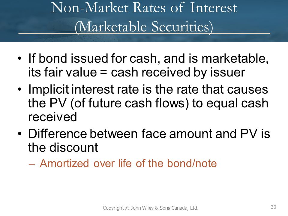 Non-Market Rates of Interest (Marketable Securities)