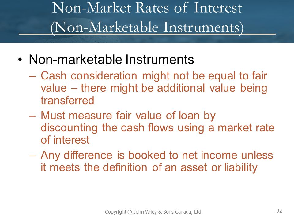 Non-Market Rates of Interest (Non-Marketable Instruments)
