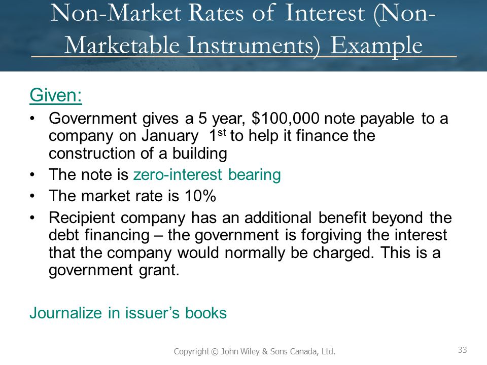 Non-Market Rates of Interest (Non-Marketable Instruments) Example