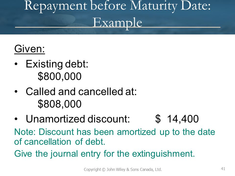 Repayment before Maturity Date: Example