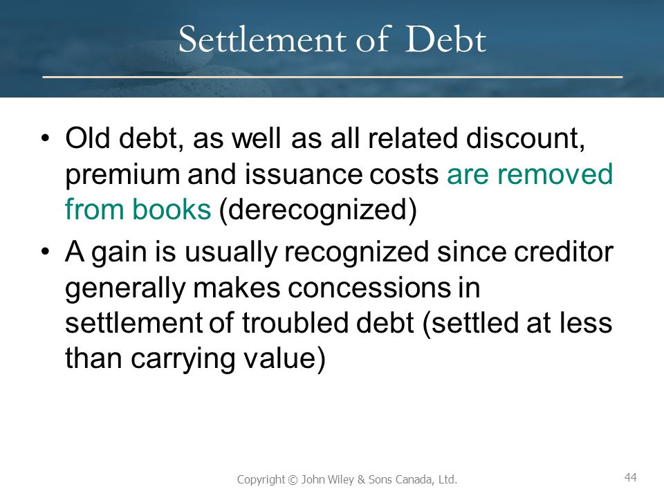Settlement of Debt Old debt, as well as all related discount, premium and issuance costs are removed from books (derecognized)