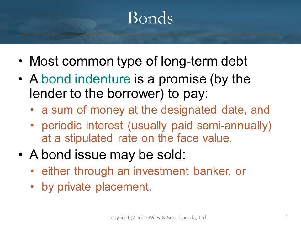 Bonds Most common type of long-term debt