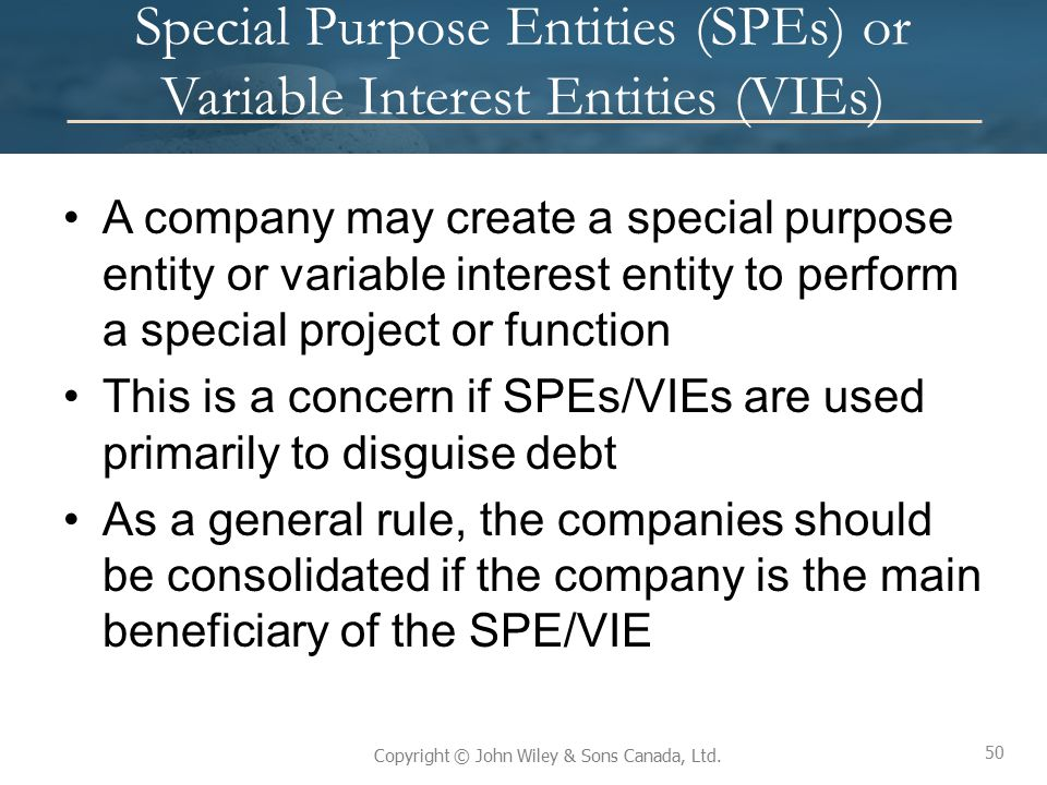 Special Purpose Entities (SPEs) or Variable Interest Entities (VIEs)