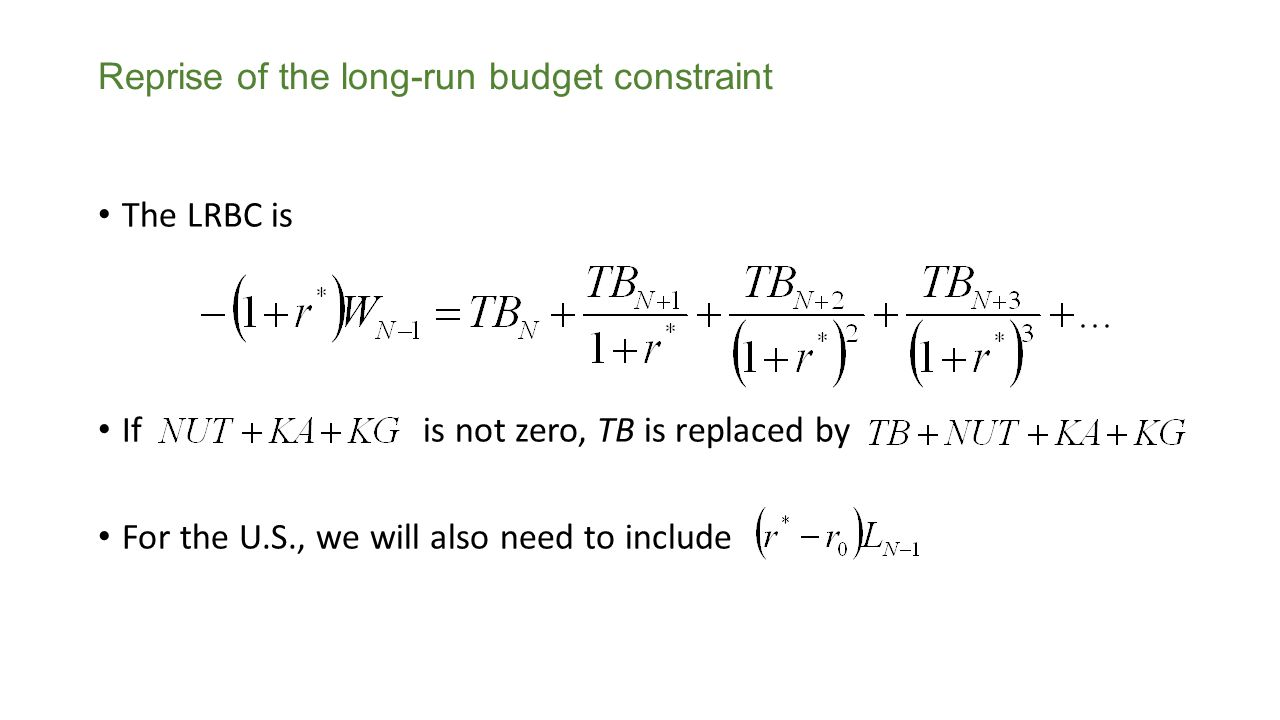 Reprise of the long-run budget constraint