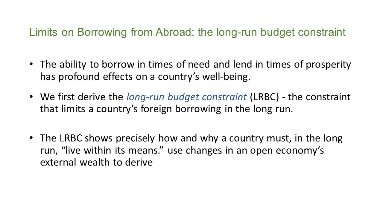 Limits on Borrowing from Abroad: the long-run budget constraint