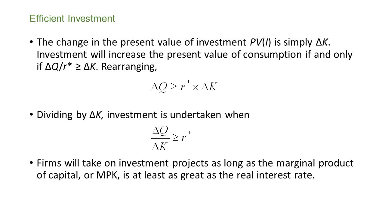 Dividing by ΔK, investment is undertaken when