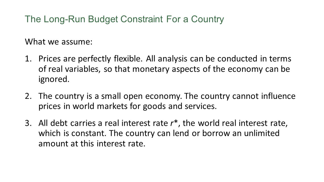 The Long-Run Budget Constraint For a Country