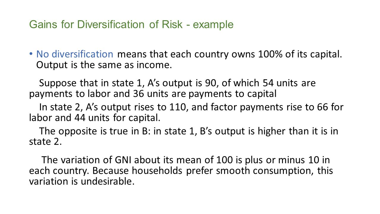 Gains for Diversification of Risk - example
