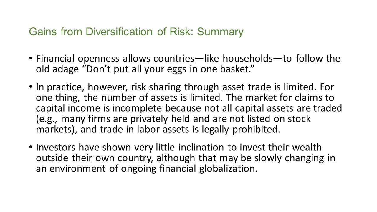 Gains from Diversification of Risk: Summary