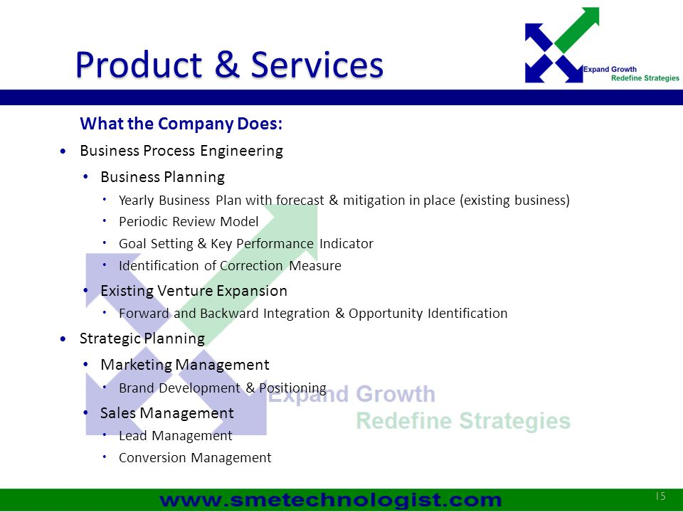 Product & Services What the Company Does: Business Process Engineering